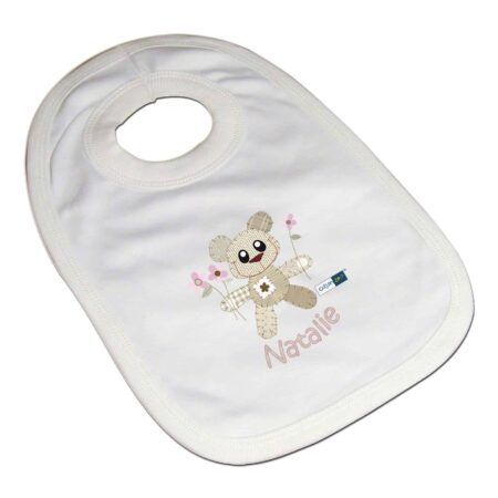 Personalised Girls Bear Tweed Bib
