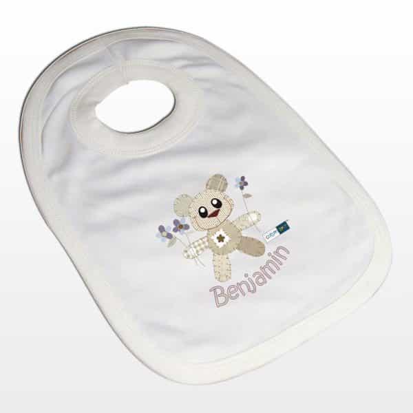 Personalised Cotton Zoo Boys Bear Bib