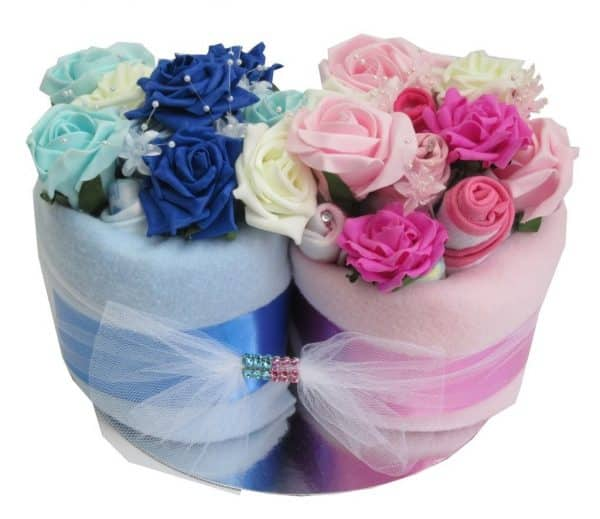 TWIN NAPPY CAKES IN ANY COLOUR COMBINATION