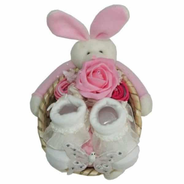 Baby Girl Small Bunny Gift Basket