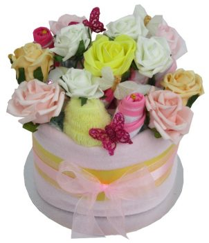 BABY GIRL FLORAL NAPPY CAKE PINK & YELLOW