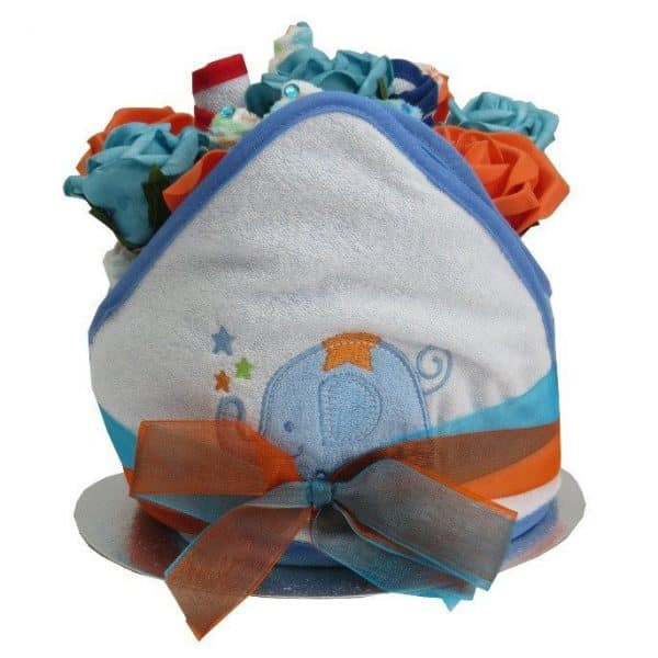 BABY BOY FLORAL HOODED TOWEL NAPPY CAKE