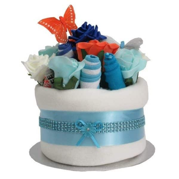 BABY BOY NAPPY CAKE TURQUOISE