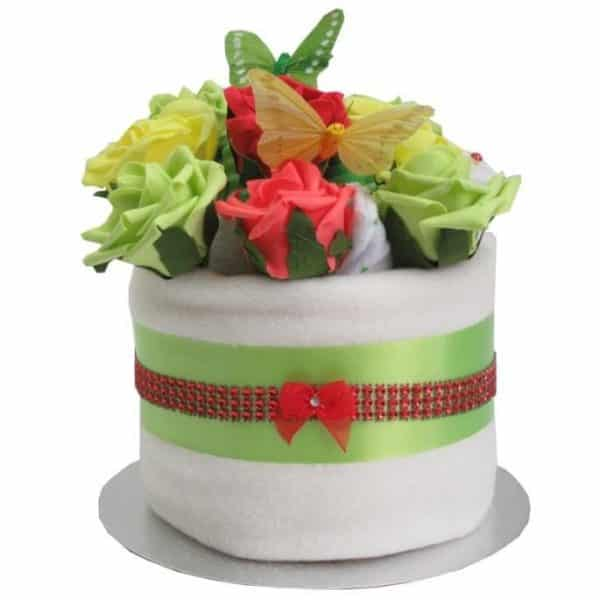 Unisex Floral Nappy Cake